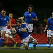 Cardiff 11/03/2018, Principality Stadium<br /> Natwest 6 nations 2018 Femminile<br /> Galles vs Italia<br /> la meta di Isabella Locatelli