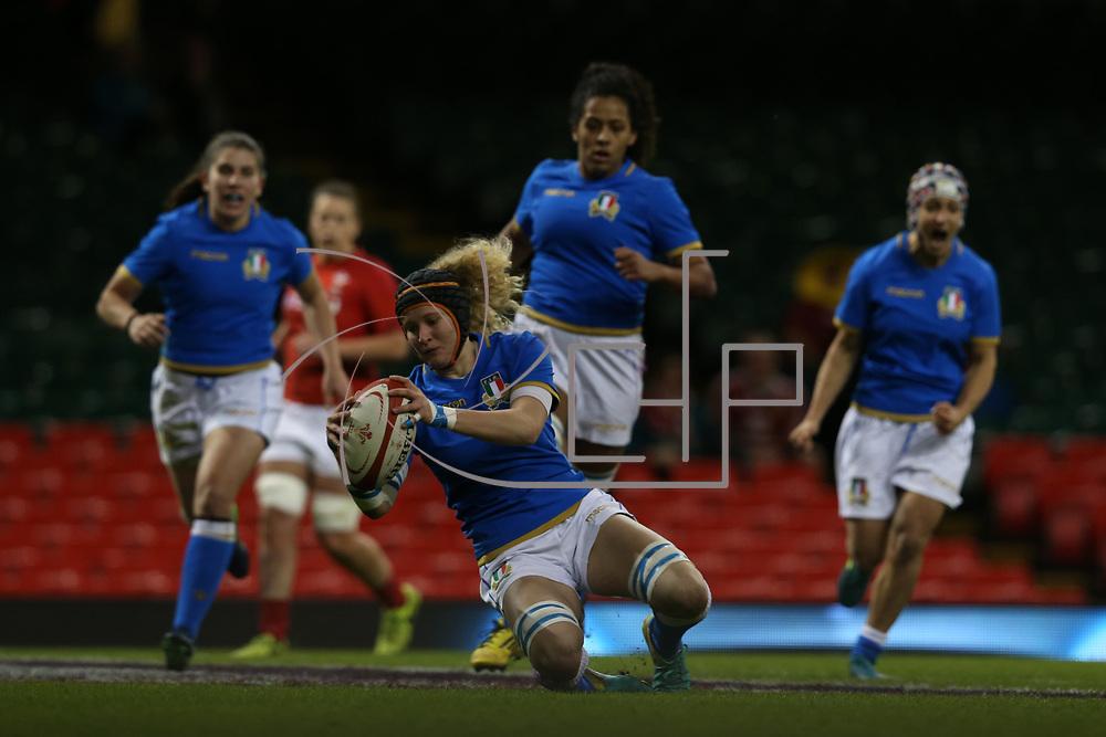 Cardiff 11/03/2018, Principality Stadium<br /> Natwest 6 nations 2018 Femminile<br /> Galles vs Italia<br /> la meta di Isabella Locatelli