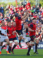 Duncan Williams of Munster jumps for the ball during the European Rugby Champions Cup match at Thomond Park, Limerick<br /> Picture by Yannis Halas/Focus Images Ltd +353 8725 82019<br /> 01/04/2017