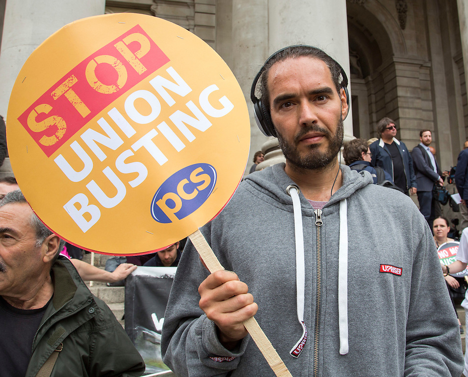 Russell Brand supporting PCS at the People's Assembly Against Austerity 'End Austerity Now' demonstration attended by over 250,000 people on Saturday 20th of June 2015 sending a clear message to the Tory government; demanding an alternative to austerity and to policies that only benefit those at the top. London, UK.
