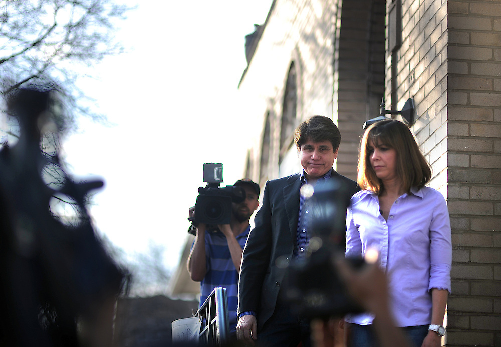 Photo By Michael R. Schmidt.On March 14, 2012 former Illinois governor Rod Blagojevich meet with his supporters at his home before reporting to federal prision in Colorado the next day.