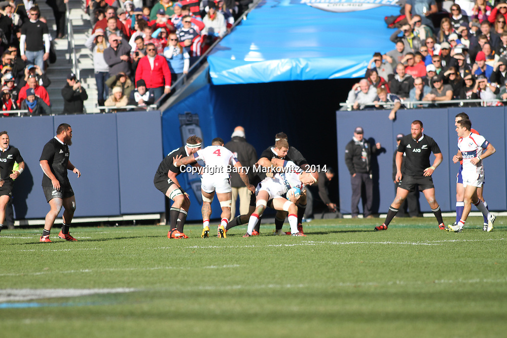 The legendary New Zealand All Blacks defeated the USA Eagles 74-6 at Soldier Field, Chicago, Illinois, USA.  Photo by Barry Markowitz, 11/1/14, 3pm