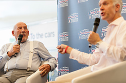 © Licensed to London News Pictures. 08/05/2016. London, UK. Sir Stirling Moss on stage during an interview with BBC TV presenter Jonathan Legard at The London Motor Show taking place in Battersea Park.  Over 30,000 visitors are expected to have visited over the three days of this inaugural show. Photo credit : Stephen Chung/LNP