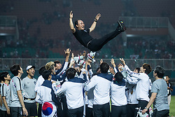 BOGOR, Sept. 1, 2018  Players of South Korea celebrate after the men's football final at the 18th Asian Games in Bogor, Indonesia on Sept. 1, 2018. (Credit Image: © Wu Zhuang/Xinhua via ZUMA Wire)