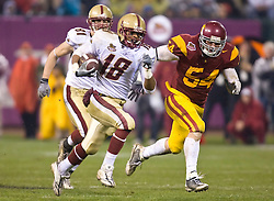 Dec 26, 2009; San Francisco, CA, USA;  Boston College Eagles wide receiver Rich Gunnell (18) rushes down field on a 61 yard touchdown during the second quarter past Southern California Trojans linebacker Chris Galippo (54) in the 2009 Emerald Bowl at AT&T Park. USC defeated BC 24-13.
