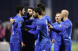 Zagreb, March 21, 2019  Azerbaijan's players celebrate after scoring a goal against Croatia during the  UEFA Euro 2020 group E qualifying match at the Maksimir stadium in Zagreb, Croatia, on March 21, 2019. Croatia won 2:1. (Credit Image: © Jurica Galoic/Pixsell/Xinhua via ZUMA Wire)