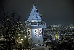 24.02.2018, Schloßberg, Graz, AUT, Graz im Winter, im Bild eine Ansicht des verschneiten Uhrturms in Graz bei Nacht, EXPA Pictures © 2018, PhotoCredit: EXPA/ Erwin Scheriau