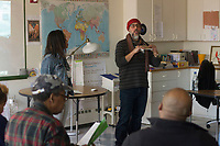 """Race and Green Space in Chicago: Their Legacy and Future"" was this year's topic at the 6th Annual Diversity Symposium hosted by The Ancona School located at 4770 S. Dorchester. Educators, parents, school leadership and community members came together Saturday afternoon, March 10th, 2018 to take part in discussions that addressed the following questions:<br /> 1.	How have historical biases shaped Chicago's green spaces and our communities?<br /> 2.	What are local organizations doing to make recreation and nature more accessible?<br /> 3.	How is green space being used to foster social change?<br /> <br /> 5740, 5743 – Theodore and Arianne Richards talk about their organization called Chicago Wisdom Project during a discussion on how organizations are finding ways to utilize outdoor spaces. The Chicago Wisdom Project many programs that expose youth to nature and the outdoors.<br /> <br /> Please 'Like' ""Spencer Bibbs Photography"" on Facebook.<br /> <br /> Please leave a review for Spencer Bibbs Photography on Yelp.<br /> <br /> Please check me out on Twitter under Spencer Bibbs Photography.<br /> <br /> All rights to this photo are owned by Spencer Bibbs of Spencer Bibbs Photography and may only be used in any way shape or form, whole or in part with written permission by the owner of the photo, Spencer Bibbs.<br /> <br /> For all of your photography needs, please contact Spencer Bibbs at 773-895-4744. I can also be reached in the following ways:<br /> <br /> Website – www.spbdigitalconcepts.photoshelter.com<br /> <br /> Text - Text ""Spencer Bibbs"" to 72727<br /> <br /> Email – spencerbibbsphotography@yahoo.com"