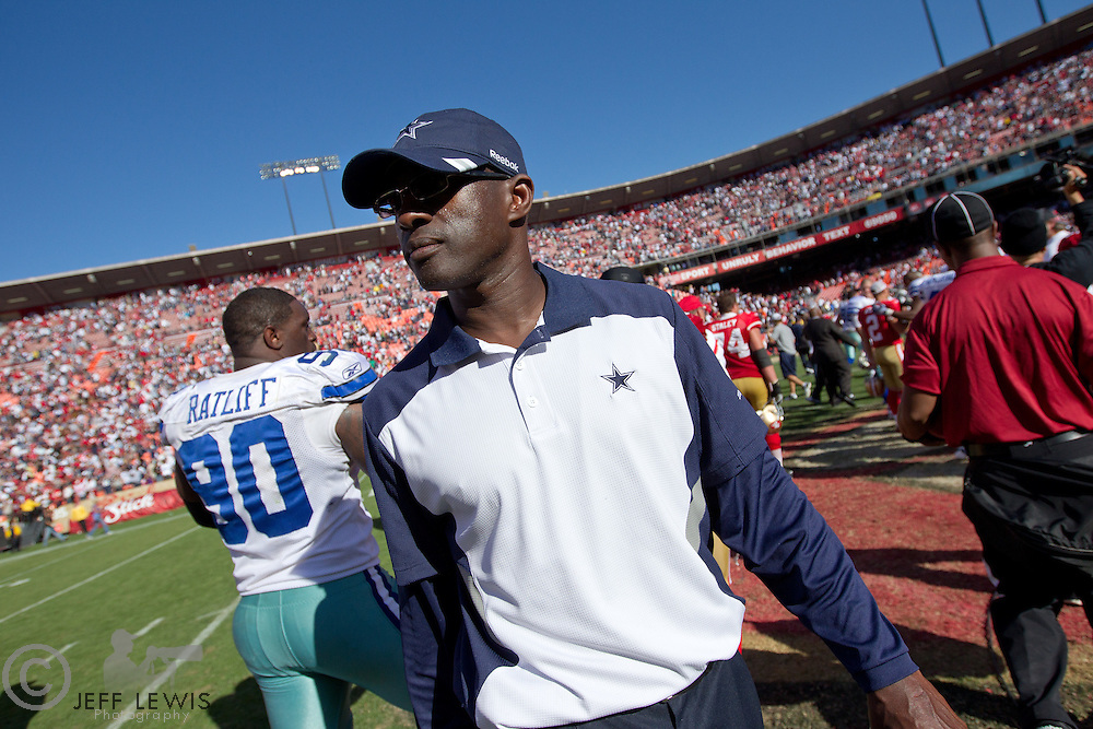 18 September 2011: Secondary coach Brett Maxie of the Dallas Cowboys walks onto the field after the Cowboys 27-24 overtime victory against the 49ers in an NFL football game at Candlestick Park in San Francisco, CA.