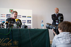 CARDIFF, WALES - Friday, October 10, 2008: Wales' manager John Toshack MBE and press officer Ceri Stennett during a press conference at the Vale of Glamorgan Hotel ahead of the 2010 FIFA World Cup South Africa Qualifying Group 4 match against Liechtenstein. (Photo by David Rawcliffe/Propaganda)