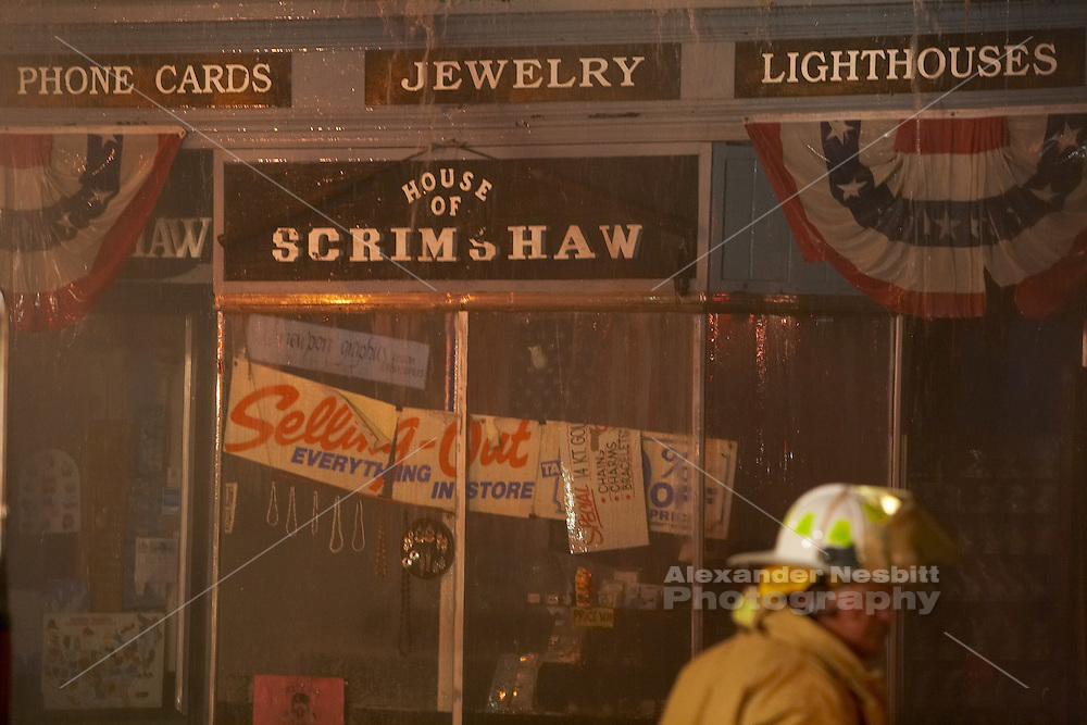 Newport, RI - May 9, 2007 - 3 AM. General Alarm fire consumes the House of Scrimshaw souvenir shop on Thames street in Newport's historic shopping area.