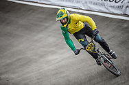 #338 during practice at the 2018 UCI BMX World Championships in Baku, Azerbaijan.