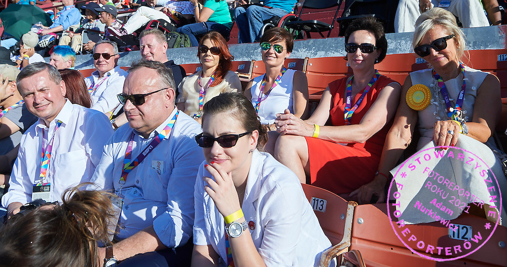 (L-R) First row Tadeusz Tomaszewski and Jaroslaw Duda and Iwona Bocian Zaciewska during opening ceremony of the Special Olympics World Games Los Angeles 2015 at the Los Angeles Coliseum Stadium on July 25, 2015 in Los Angeles, USA.<br /> USA, Los Angeles, July 25, 2015<br /> <br /> Picture also available in RAW (NEF) or TIFF format on special request.<br /> <br /> For editorial use only. Any commercial or promotional use requires permission.<br /> <br /> Adam Nurkiewicz declares that he has no rights to the image of people at the photographs of his authorship.<br /> <br /> Mandatory credit:<br /> Photo by &copy; Adam Nurkiewicz / Mediasport