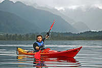 Photo of traveller Kayaking at Lake Mapourika Franz Josef Westland National Park New Zealand