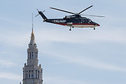 GOP Presidential nominee Donald Trump arrives by private helicopter for the Republican National Convention July 20, 2016 in Cleveland, Ohio. Trump flew into the Cleveland Burke Lakefront Airport by his private jet and then by helicopter for a grand arrival.