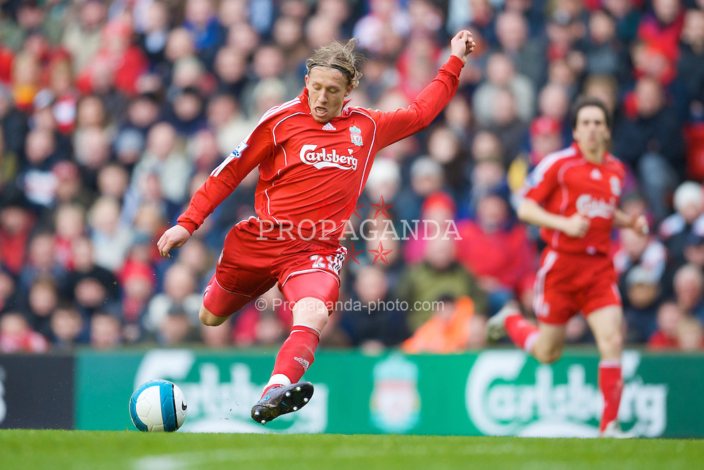 LIVERPOOL, ENGLAND - Saturday, March 8, 2008: Liverpool's Lucas Levia in action against Newcastle United during the Premiership match at Anfield. (Photo by David Rawcliffe/Propaganda)