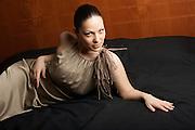 "Nino Machaidze, a young soprano from Georgia living in Milano and singing at the Teatro alla Scala, photographed in ""Imenio"" by Max Mara at Hotel Montebianco Mokinba for Salon magazine."