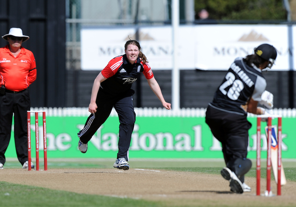 England's Anya Scrubsole bowls to New Zealand's Sara McGlashan in the second twenty/20 International Womens Cricket match, Seddon Park, Hamilton, New Zealand, Sunday, February 19, 2012. Credit:SNPA / Ross Setford