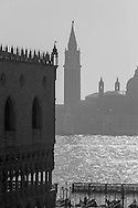 Italy. Venice. the Piazzetta , t the lagoon and San Giorgio Maggiore church island, on the left side the basilica  Venice - Italy   / <br /> la Piazzetta,  la lagune et l eglise San Giorgio Maggiore, sur la gauche la basilique san Marco  Venise - Italie