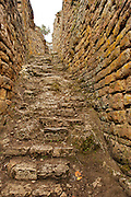 Entrance to the gigantic fort of Kue?lap that is located in the district of Tingo, province of Luya, department of Amazon, to a height of 3.000 meters on the level of the sea; in the top of a high mountain of the northen Andes in Peru.  The structure is almost 600 m in length and its walls rise up to 19 m in height.