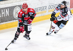 13.12.2015, Tiroler Wasserkraft Arena, Innsbruck, AUT, EBEL, HC TWK Innsbruck die Haie vs HC Orli Znojmo, 30. Runde, im Bild vl.:  Nick Schaus (HC TWK Innsbruck  Die Haie), Jan Lattner (HC Orli Znojmo) // during the Erste Bank Icehockey League 30th round match between HC TWK Innsbruck  die Haie and HC Orli Znojmo at the Tiroler Wasserkraft Arena in Innsbruck, Austria on 2015/12/13. EXPA Pictures © 2015, PhotoCredit: EXPA/ Jakob Gruber