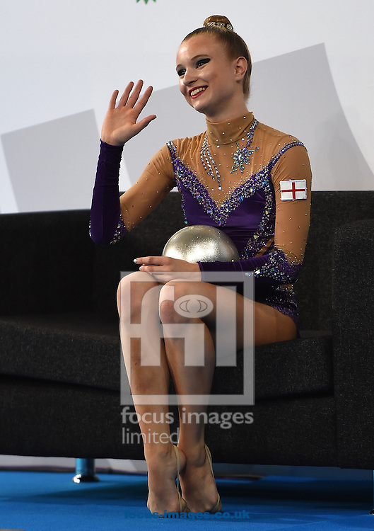 Stephani Sherlock ENG after her performance in the Rhythmic Gymnastics ball final at SSE Hydro, Glasgow<br /> Picture by Alan Stanford/Focus Images Ltd +44 7915 056117<br /> 26/07/2014