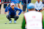 In-kyung Kim lines her putt up during the Ricoh Women's British Open golf tournament at Royal Lytham and St Annes Golf Club, Lytham Saint Annes, United Kingdom on 4 August 2018. Picture by Simon Davies.