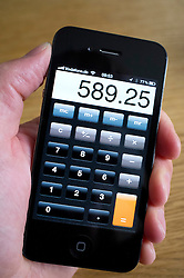 using calculator app on an iPhone smartphone