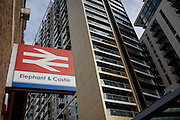 Elephant & Castle railway sign and new architecture at Elephant Park, London borough of Southwark. Southwark Council's development partner, Lendlease is regenerating over 28 acres across three sites at the heart of Elephant & Castle, in what is the latest major regeneration opportunity in zone 1 London. The vision for the £1.5 billion regeneration is to build on the area's strengths and vibrant character in order to re-establish Elephant & Castle as one of London's most flourishing urban quarters. The Elephant & Castle regeneration is of a scale rarely seen in central London and includes almost 3,000 new homes, plus office, retail, community, leisure and restaurant space.