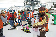 Racers embrace at the start of the Chinese Downhill at the 2017 Pain McShlonkey