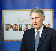 Conservative Party Conference, ICC, Birmingham, Great Britain <br /> Day 1<br /> 7th October 2012 <br /> <br /> <br /> <br /> Rt Hon Philip Hammond MP <br /> secretary of State for Defence <br /> on Sunday Politics <br /> <br /> Photograph by Elliott Franks<br /> <br /> Tel 07802 537 220 <br /> elliott@elliottfranks.com<br /> <br /> ©2012 Elliott Franks<br /> Agency space rates apply