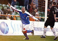 Photo: Chris Ratcliffe.<br />Barnet FC v Carlisle United. Coca Cola League 2. 25/02/2006.<br />Simon Hackney of Carlisle celebrates the winning goal.