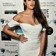 Claudia Sowaha Arrivers at Nina Naustdal catwalk show SS19/20 collection by The London School of Beauty & Make-up at Bagatelle on 26 Feb 2019, London, UK.