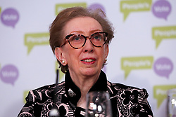 © Licensed to London News Pictures. 27/03/2019. London, UK. Dame Margaret Beckett MP - Labour former Foreign Secretary at a People's Vote press conference in Westminster setting out an analysis of the different Brexit options facing Members of Parliament in indicative votes. Later today the MPs will votes on a series of alternative Brexit outcomes. Photo credit: Dinendra Haria/LNP