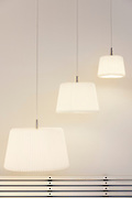 Le Klint Danish contemporary pendant lights in lighting emporium in Kirkestraede in old district Copenhagen, Denmark