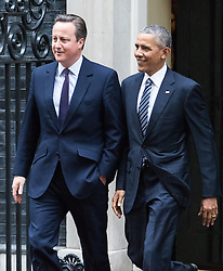 Downing Sreet, London, April 22nd 2016. United States President Barak Obama leaves 10 Downing Street with British Prime Minister David Cameron to address a press conference. &copy;Paul Davey<br /> FOR LICENCING CONTACT: Paul Davey +44 (0) 7966 016 296 paul@pauldaveycreative.co.uk