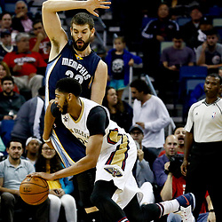 Dec 5, 2016; New Orleans, LA, USA; New Orleans Pelicans forward Anthony Davis (23) drives past Memphis Grizzlies center Marc Gasol (33) during the first quarter of a game at the Smoothie King Center. Mandatory Credit: Derick E. Hingle-USA TODAY Sports