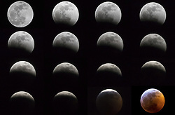 January 21, 2019 - New York, New York, United States - Montage on sequencing images of lunar total eclipse from the city of New York in the United States at dawn this Monday, 21. (Credit Image: © William Volcov/ZUMA Wire)