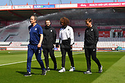 Fulham manager Scott Parker walking on the pitch with Marlon Fossey of Fulham on arrival before the Premier League match between Bournemouth and Fulham at the Vitality Stadium, Bournemouth, England on 20 April 2019.