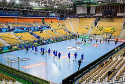 Players at warming up prior to the handball match between RK Celje Pivovarna Lasko and HC Vardar Skopje (MKD) in 1st Round of Group C of EHF Champions League 2014/15, on September 27, 2014 in Arena Zlatorog, Celje, Slovenia. Photo by Vid Ponikvar / Sportida.com