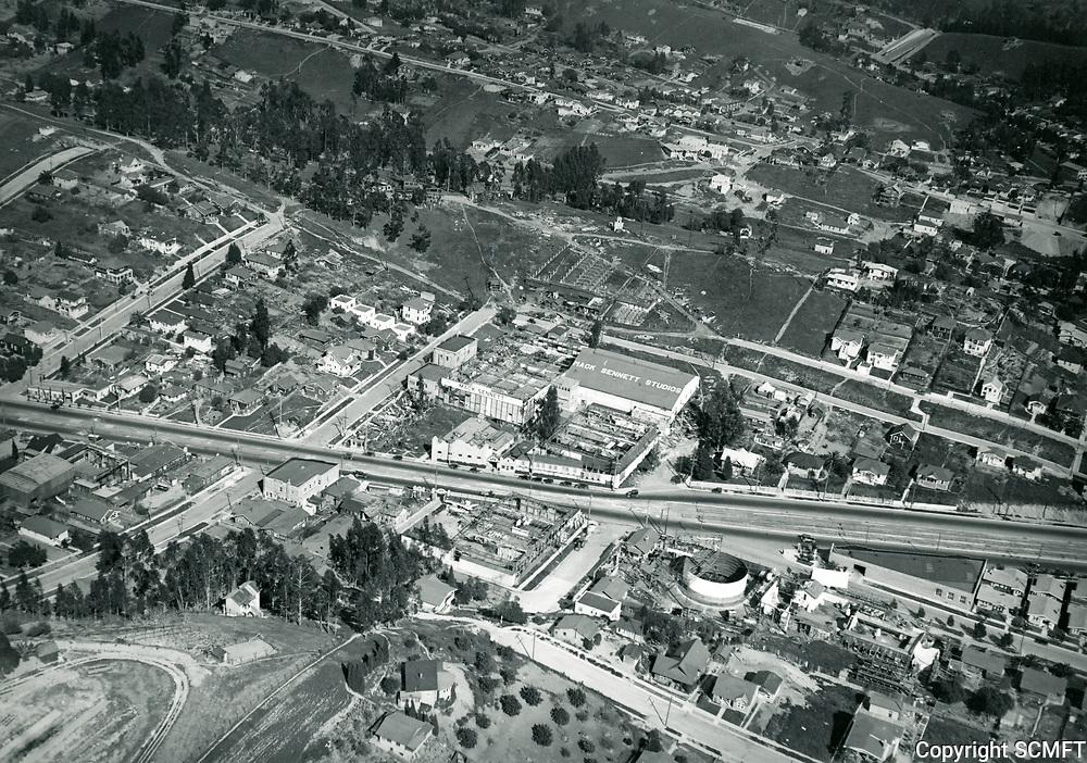 1923 Aerial view of Mack Sennett Studios in Edendale, CA