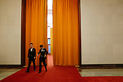 Staff members inside the Great Hall of the People in Beijing, China.