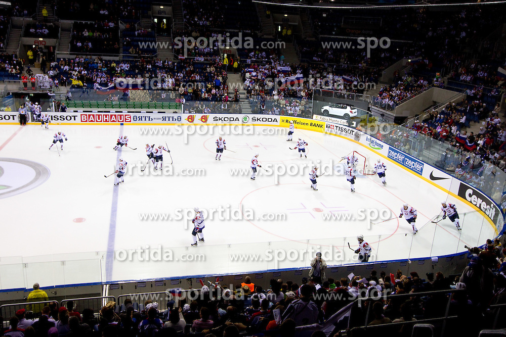 Slovenian players during ice-hockey match between Austria and Slovenia of Group G in Relegation Round of IIHF 2011 World Championship Slovakia, on May 7, 2011 in Orange Arena, Bratislava, Slovakia. Austria defeated Slovenia 3-2. (Photo By Vid Ponikvar / Sportida.com)