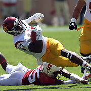 Javarious Buck Allen shows his incredible athleticism as he goes for extra yards in the first half against the Stanford Cardinals.  USC prevailed over Stanford 13-10 at Stanford Stadium, Palo Alto, California.   Photo by Barry Markowitz, 12:30pm, 9/06/14