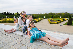 EMBARGOED FOR WEB AND APPS IN FRANCE UNTIL MAY 14, 2016 - Exclusive - Tori Spelling with her husband Dean McDermott and their children Finn Davey, Liam Aaron, Stella Doreen, Hattie Margaret visit the Chateau de Versailles, Versailles, France on April 20, 2016. Photo by ABACAPRESS.COM  | 543701_062 Versailles France