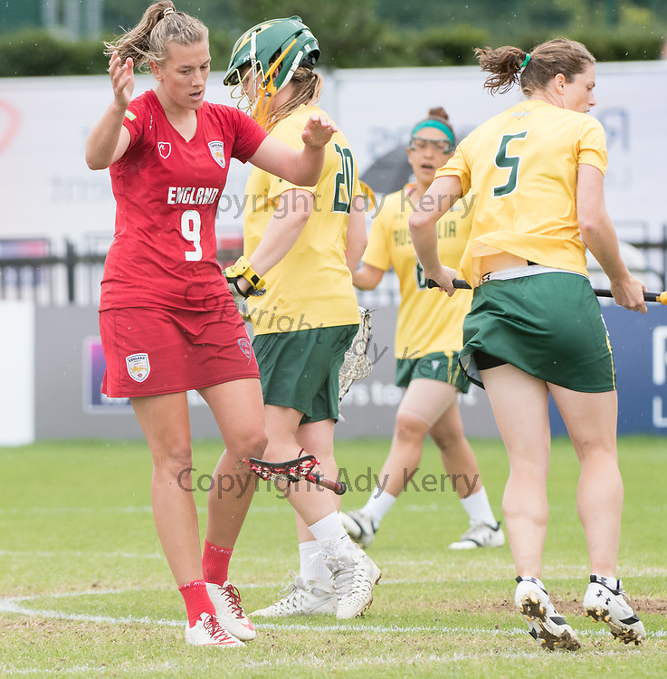 England's Laura Merrifield  throws her stick having scored against Australia at the 2017 FIL Rathbones Women's Lacrosse World Cup at Surrey Sports Park, Guilford, Surrey, UK, 15th July 2017