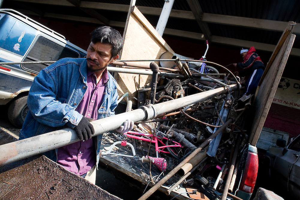 Scrap metal is constantly being reused and recycled. In Chicago many people drive the city in search of metals to take to the city's over century-old scrap yards.