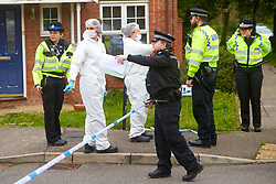 © Licensed to London News Pictures. 20/10/2019. Milton Keynes, UK. Police and forensic officers at the scene in Archford Croft in Emerson Valley where two 17 year old boys were stabbed to death overnight. Two adult males where also injured. Thames Valley Police have begun a double murder investigation but have yet to make any arrests.  Photo credit: Cliff Hide/LNP