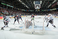 KELOWNA, CANADA - APRIL 1: Connor Ingram #39 of Kamloops Blazers defends the net as Tyson Baillie #24 passes the puck to Justin Kirkland #23 of Kelowna Rockets on April 1, 2016 at Prospera Place in Kelowna, British Columbia, Canada.  (Photo by Marissa Baecker/Shoot the Breeze)  *** Local Caption *** Justin Kirkland; Tyson Baillie; Connor Ingram;