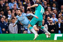 Bernardo Silva of Manchester City is fouled by Fernando Llorente of Tottenham Hotspur - Mandatory by-line: Robbie Stephenson/JMP - 17/04/2019 - FOOTBALL - Etihad Stadium - Manchester, England - Manchester City v Tottenham Hotspur - UEFA Champions League Quarter Final 2nd Leg